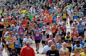 London marathon competitors head to the finishing line.
