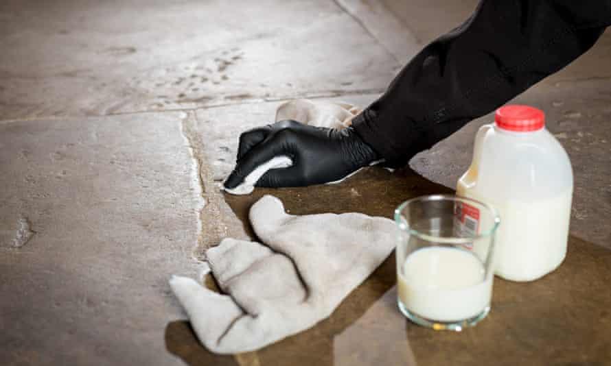 Milk is used to clean flagstone floors at Brodsworth Hall