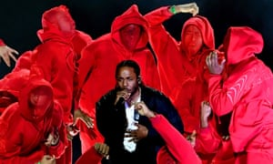 Kendrick Lamar performing at the 2018 Grammy awards.