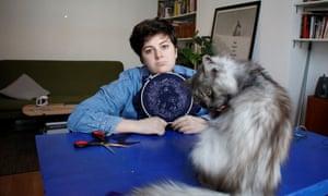 Eleanor Margolis not enjoying crafts. And her cat