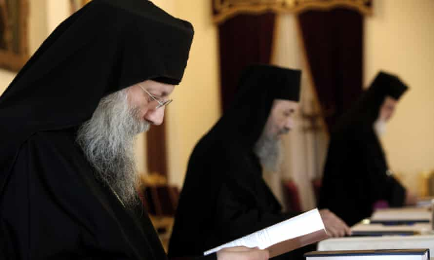 Orthodox church ministers of the Holy Synod in Cyprus