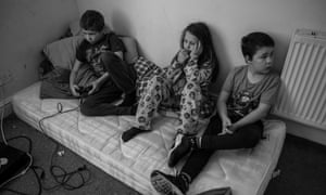 Pauline's three youngest have to share a room, sleeping on mattresses on the floor.