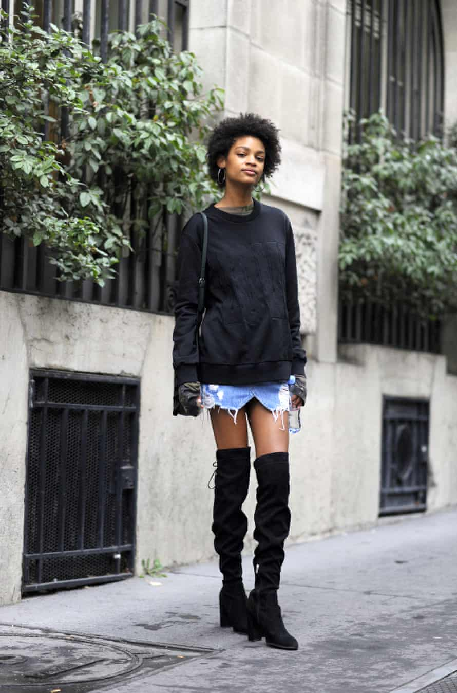 Over-the-knee boots at Paris fashion week.
