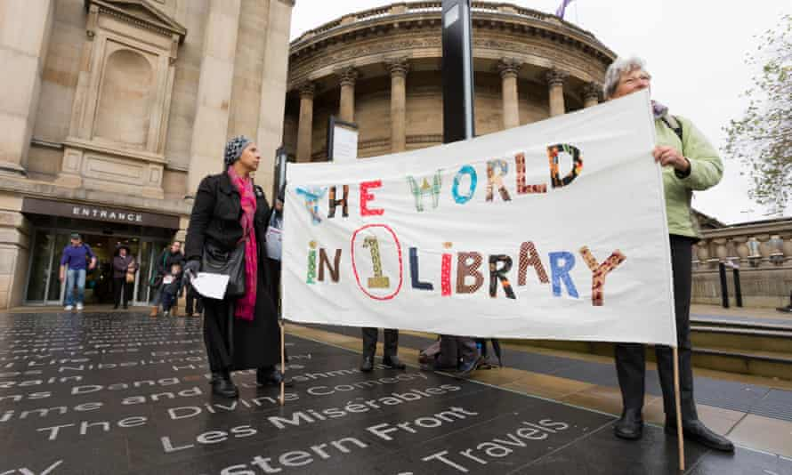 A protest outside Liverpool's Central library in 2014 against plans to close 11 of the city's 19 libraries.