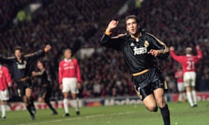 Raul celebrates scoring for Real Madrid against Manchester United in the Champions League in April 2000