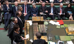 Theresa May in the chamber last week as MPs voted to ask the EU for an extension to article 50