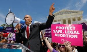 Democratic US presidential candidate Senator Cory Booker (D-NJ) addresses abortion rights activists in Washington DC