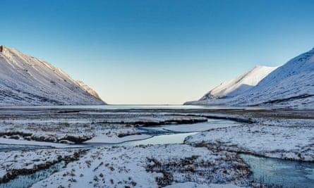 Iceland winter landscape near Reykjavik and Akureyri.