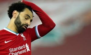 Liverpool's Mohamed Salah looks dejected.