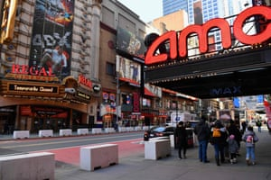 The AMC Empire 25 off Times Square is open as New York City's cinemas reopen for the first time in a year following the coronavirus shutdown, on 5 March, 2021.