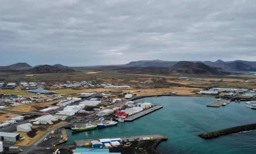 The town of Grindavik on the Reykjanes peninsula, Iceland.