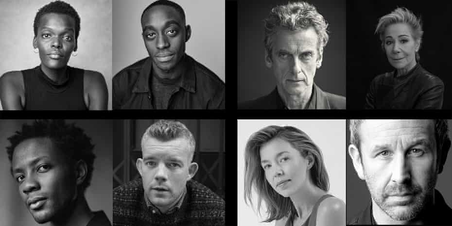 The Constellations cast for 2021. Top line: Sheila Atim, Ivanno Jeremiah, Peter Capaldi and Zoë Wanamaker. Bottom line: Omari Douglas, Russell Tovey, Anna Maxwell Martin and Chris O'Dowd.