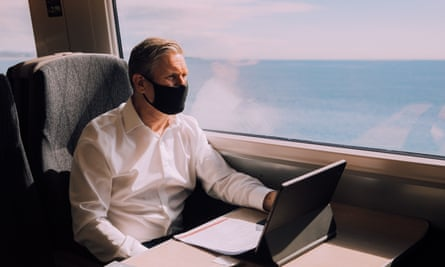 Keir Starmer on a train to Falmouth.
