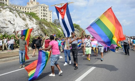 Cubans and foreigners participate in the gay pride parade during the celebration of the day against homophobia and transphobia in Havana