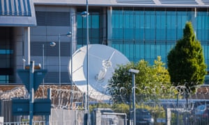 A satellite dish at the GCHQ spying centre in Cheltenham.