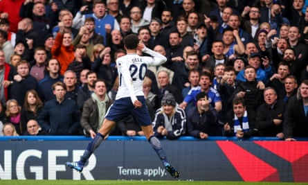 Dele Alli taunts the home crowd after scoring Tottenham's second goal.