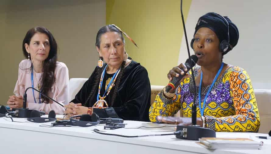 From left to right: Osprey Orielle Lake, Casey Camp Horinek (Ponca nation leader, Indigenous Environmental Network representative) and Neema Namadamu at Cop21 negotiations in Paris, France.