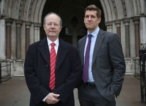 CEO of ClientEarth James Thornton (left) and ClientEarth lawyer Alan Andrews outside the high court in London.