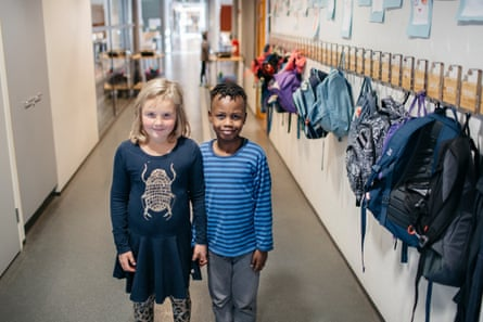 Second-graders Menni Pietiläinen (left) and Nathan Mulote.
