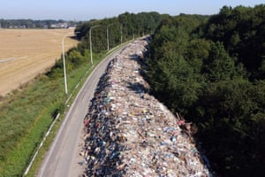 Rubbish on the abandoned A601 highway at Juprelle near Liege.
