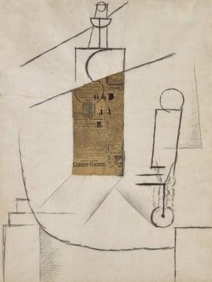 Bouteille et Verre sur un Table, 1912, by Pablo Picasso.