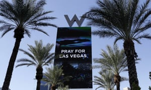 'Pray for Las Vegas' reads a sign honouring the victims of this week's mass shooting in Las Vegas.