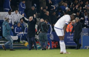 Claudio Ranieri celebrates at the end of the match as Chelsea manager Jose Mourinho looks dejected