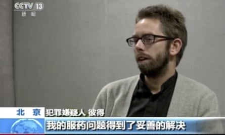 Peter Dahlin speaks on camera in a still from video released by China Central Television