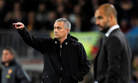 José Mourinho and Pep Guardiola on the touchline during the clásico at Camp Nou in 2012. Real Madrid won the match 2-1.