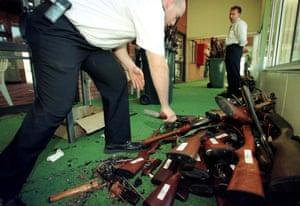 Destroyed firearms on the last day of Australia's gun buyback scheme