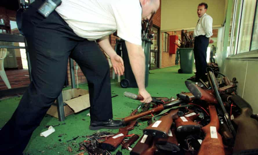 Firearms surrendered in Sydney as part of Australia's gun buyback scheme under tough firearm laws introduced after Australia's worst shooting massacre in Port Arthur, Tasmania in 1996. Gun control advocates say the tighter laws brought in in 1996 Port are being weakened.