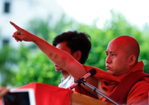 Nationalist Buddhist monk Wirathu speaks at a rally against Kofi Annan's commission report, condemning attacks by Rohingya militants