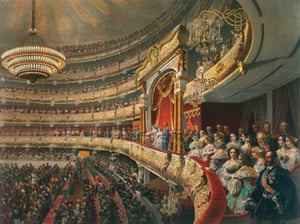 Mihály Zichy's painting Auditorium of the Bolshoi Theatre (1856).
