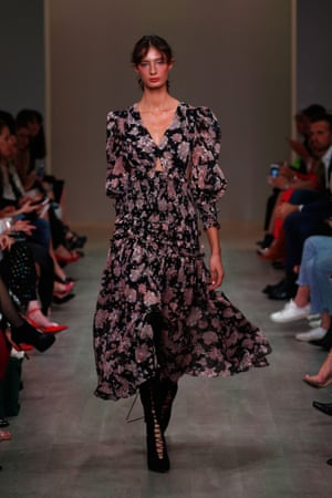 Transition from winter into summer with a floaty floral dress, like Thurley's low-slung dress, paired with boots or heels.