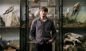 Simon Armitage in the Bird Room, Tolson Museum, Huddersfield.