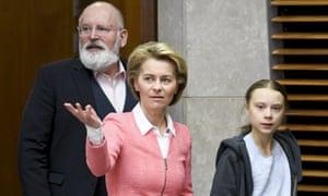 Frans Timmermans and Ursula von der Leyen meet Greta Thunberg in Brussels on Wednesday