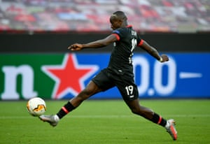 Moussa Diaby of Bayer Leverkusen fires home the opening goal of the game.