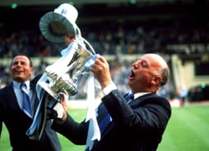 Coventry City Manager John Sillett celebrates the win with the FA Cup.