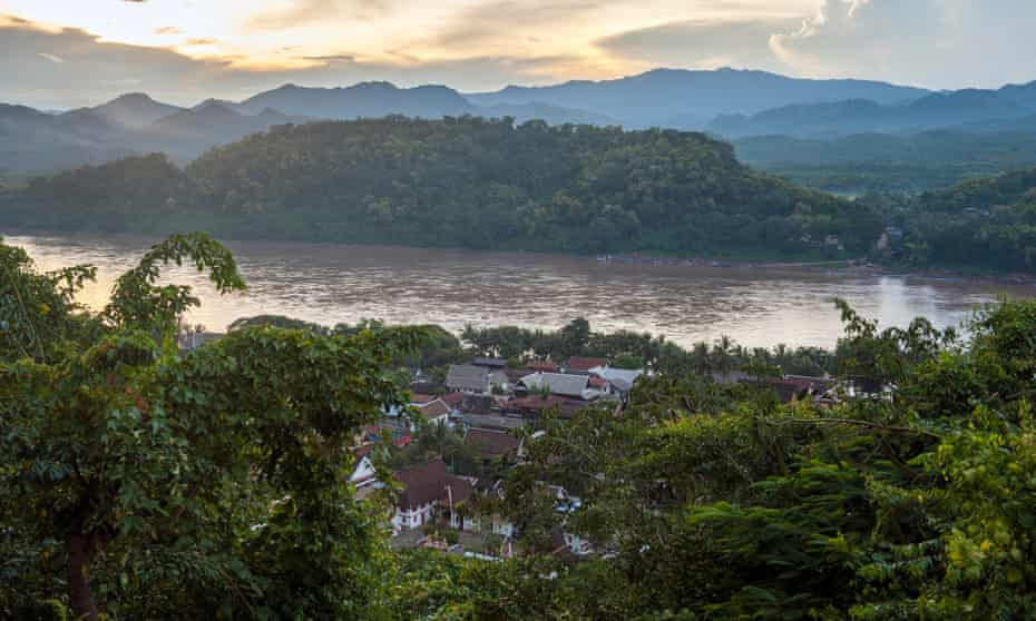 View over Luang Prabang and the Mekong river from Mount Phousi.