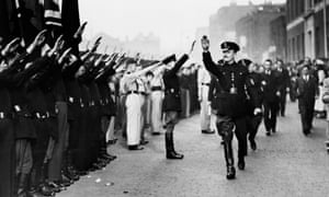 Home-grown fascism … Oswald Mosley inspects members of the British Union of Fascists in Royal Mint Street, London, in 1936.