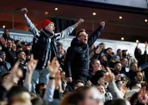Up in the stands, the Newcastle United fans look pretty pleased.
