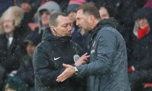 Southampton manager Ralph Hasenhuttl lets match official Kevin Friend know what he thinks of the decision.