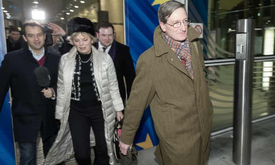 Anna Soubry and Dominic Grieve leave the Berlaymont in Brussels after their meeting.