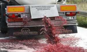 Wine flows from a Spanish truck