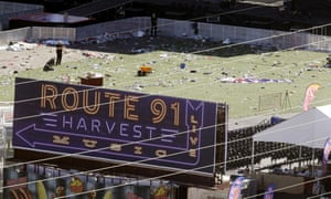 Investigators at the site of the Route 91 Harvest music festival, where a gunman killed more than 50 people from a room at the Mandalay Bay hotel.