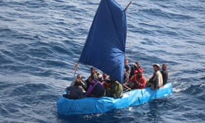 Cuban migrants in the waters south of Key West, Florida, in January 2015. Coast Guard officials said that the number of Cubans trying to reach Florida illegally by sea has surged since the US and Cuba announced they would restore diplomatic relations.