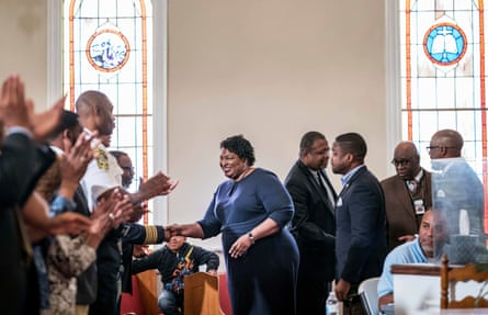 Stacey Abrams campaigning at the St. James Baptist Church in Forsyth, Georgia in 2018.