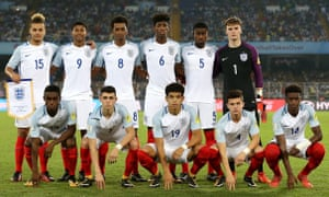 The England team that started the semi-final against Brazil. Clockwise from top left: Latibeaudiere, Brewster, Oakley-Boothe, Panzo, Guehi, Anderson, Hudson-Odoi, McEachran, Gibbs-White, Foden, Sessegnon.