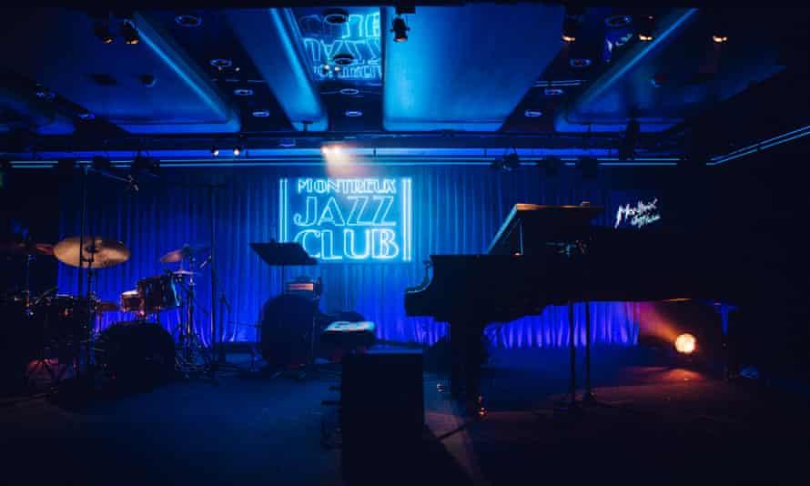 Empty, blue-lit state, at Montreux Jazz Festival, Switzerland.