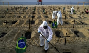 Activists of the NGO Rio de Paz in protective gear dig graves on Copacabana beach to symbolise the dead from coronavirus during a demonstration in Rio de Janeiro, Brazil, 11 June 2020.